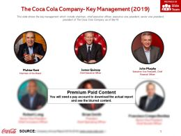 The Coca Cola Company Key Management 2019
