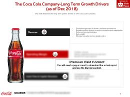 The Coca Cola Company Long Term Growth Drivers As Of Dec 2018