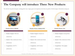 The Company Will Introduce Three New Products Devices Ppt Powerpoint Presentation Background