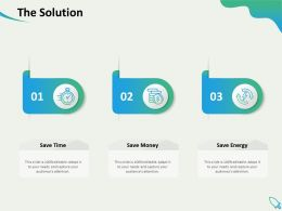 The Solution Energy Time Money Ppt Powerpoint Presentation Visual Aids Professional