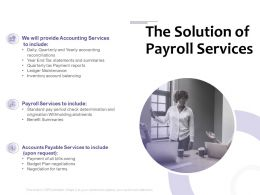 The Solution Of Payroll Services Ppt Powerpoint Presentation Portrait