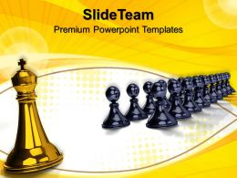 The Strategy Game Templates Big King Front Pawns Business Ppt Slides Powerpoint