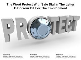 The Word Protect With Safe Dial In The Letter O Do Your Bit For The Environment