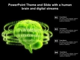 Theme And Slide With A Human Brain And Digital Streams Ppt Powerpoint