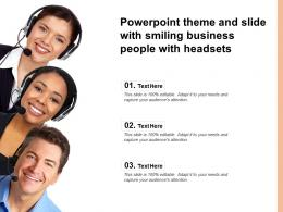 Theme And Slide With Smiling Business People With Headsets Ppt Powerpoint