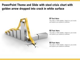 Theme And Slide With Steel Crisis Chart With Golden Arrow Dropped Into Crack In White Surface