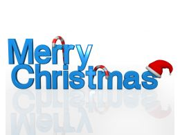 Theme Of Merry Christmas With Santa Hat And Candy Cane Stock Photo