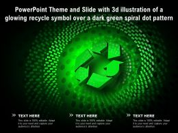 Theme Slide With 3d Illustration Of A Glowing Recycle Symbol Over A Dark Green Spiral Dot Pattern