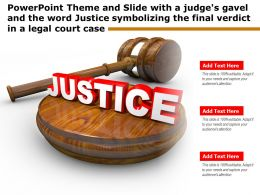 Theme Slide With A Judges Gavel Word Justice Symbolizing Final Verdict In A Legal Court Case