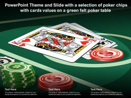 Theme Slide With A Selection Of Poker Chips With Cards Values On A Green Felt Poker Table