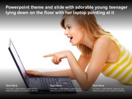 Theme Slide With Adorable Young Teenager Lying Down On The Floor With Her Laptop Pointing At It