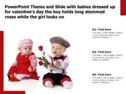Theme Slide With Babies Dressed Up For Valentines Day Boy Holds Long Stemmed Roses While Girl Looks On