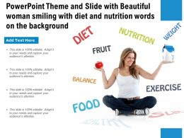 Theme Slide With Beautiful Woman Smiling With Diet And Nutrition Words On The Background