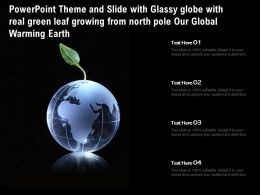 Theme Slide With Glassy Globe With Real Green Leaf Growing From North Pole Our Global Warming Earth