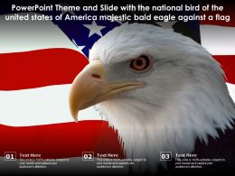 Theme Slide With National Bird Of United States Of America Majestic Bald Eagle Against A Flag