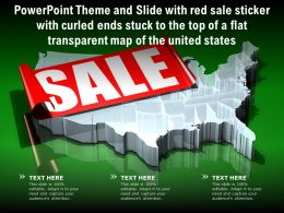Theme Slide With Red Sale Sticker With Curled Ends Stuck To Top Of A Flat Transparent Map Of United States