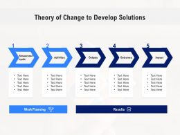 Theory Of Change To Develop Solutions