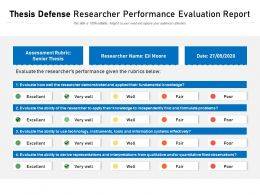 Thesis Defense Researcher Performance Evaluation Report