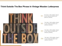 Think Outside The Box Phrase In Vintage Wooden Letterpress