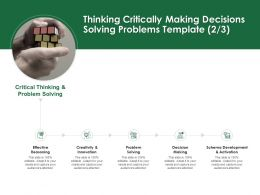 Thinking Critically Making Decisions Solving Problems Template Creativity And Innovation Ppt Slides