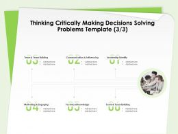Thinking Critically Making Decisions Solving Problems Template Knowledge Ppt Designs