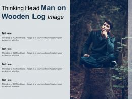 Thinking Head Man On Wooden Log Image