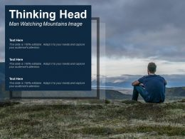 Thinking Head Man Watching Mountains Image