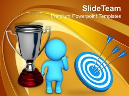 Thinking Man Standing Beside Silver Trophy Target Powerpoint Templates Ppt Themes And Graphics 0113