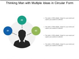 Thinking Man With Multiple Ideas In Circular Form