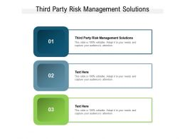 Third Party Risk Management Solutions Ppt Powerpoint Presentation Pictures Ideas Cpb