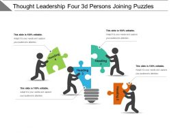 Thought Leadership Four 3d Persons Joining Puzzles