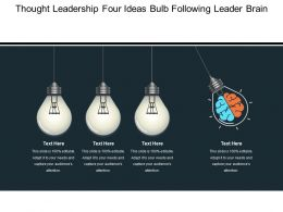 Thought Leadership Four Ideas Bulb Following Leader Brain