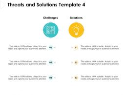 Threats And Solutions Template Idea Bulb Ppt Powerpoint Presentation Pictures
