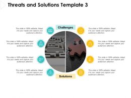 Threats And Solutions Template Puzzle Ppt Powerpoint Presentation Pictures