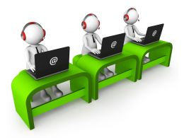 Three 3D Men With Laptops For Customer Support Stock Photo