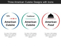 Three American Cuisine Designs With Icons