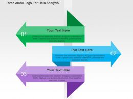 Three Arrow Tags For Data Analysis Flat Powerpoint Design