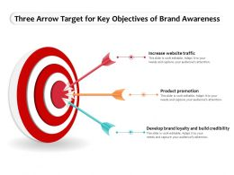 Three Arrow Target For Key Objectives Of Brand Awareness