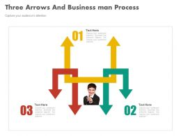 Three Arrows And Business Man Process Flow Flat Powerpoint Design
