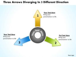 three arrows diverging 3 different direction Circular Flow Process PowerPoint templates