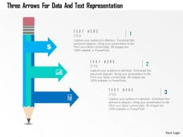 Three Arrows For Data And Text Representation Flat Powerpoint Design