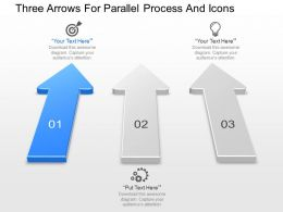 Three Arrows For Parallel Process And Icons Powerpoint Template Slide