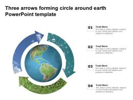 Three Arrows Forming Circle Around Earth Powerpoint Template