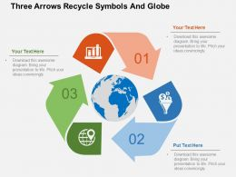Three Arrows Recycle Symbols And Globe Ppt Presentation Slides