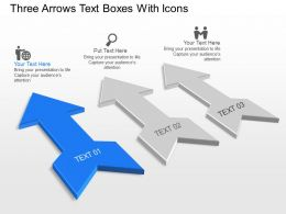 Three Arrows Text Boxes With Icons Powerpoint Template Slide