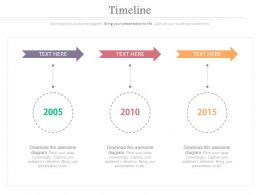 Three Arrows Timeline With Years For Business Powerpoint Slides