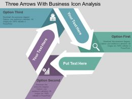 Three Arrows With Business Icon Analysis Flat Powerpoint Design