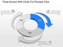Three Arrows With Circle For Process Flow Powerpoint Template Slide