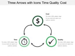 Three Arrows With Icons Time Quality Cost