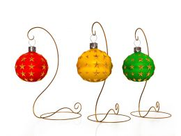 Three Beautiful Christmas Stand With Decorative Light Stock Photo